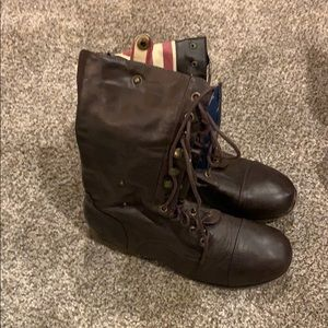 Bamboo/Charlotte Russe Brown Combat Boots Size 10